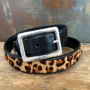 Black Leather Brighton Cheetah Pony Hair Belt